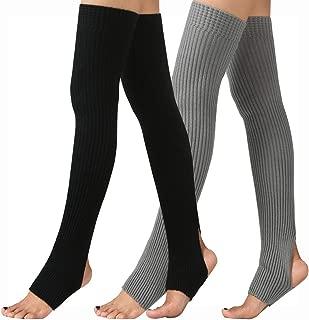 Women Stirrup Leg Warmers Boot Cuffs Socks Knee High Length Crochet for Dance Yoga