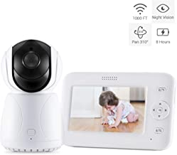 Bable GR-02 Baby Monitor, 4.3 inch Video Baby Monitor with Camera, Remote Pan & Tilt, Infrared Night Vision, Sound Detection, Intercom, Temperature Monitoring, Lullabies and Long Battery Life