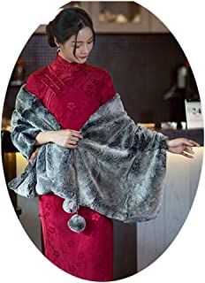 Cloak Shawls and Wraps for Evening Dresses Scarfs for Women Scarves and Wraps Women Winter Warm Scarves Suitable for Office Party Dates Chinese Style Silky Rex Rabbit Hair Wine Red (Color : Red)
