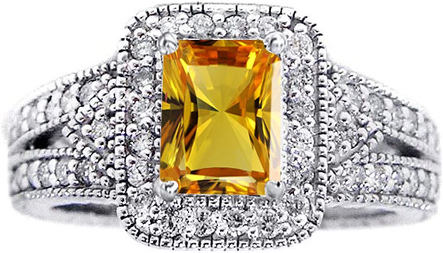 Vorra Fashion Women's Solitaire With Accents Anniversary Ring Emerald Cut Yellow Sapphire