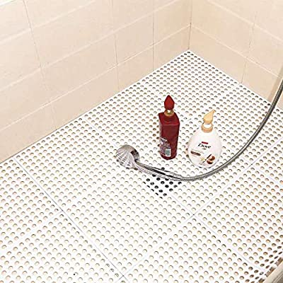 Atemou Patio Tiles 10PCS Interlocking Rubber Floor Tiles with Drain Holes DIY Size Bathroom Shower Toilet Non-Slip Floor Tiles Mat Interlocking Massage Soft Cushion Floor Tiles(White)