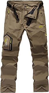 Luckyoung Men's Quick Dry Water Resistant Belted Convertible Pants for Hiking Safari