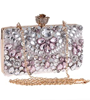 Made Fine Wedding Dress Wild Banquet Gift Chain Sling Strap Rope Messenger Bag Women's Diamond Beaded Banquet Evening Gift Bag Clutch Worth having (Color : Pink)