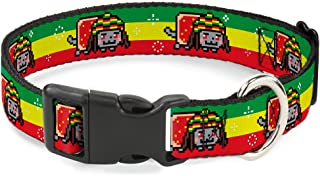"""Buckle-Down Plastic Clip Collar - Rasta Nyan Cat Stripe Green/Yellow/Red - 1"""" Wide - Fits 15-26"""" Neck - Large"""
