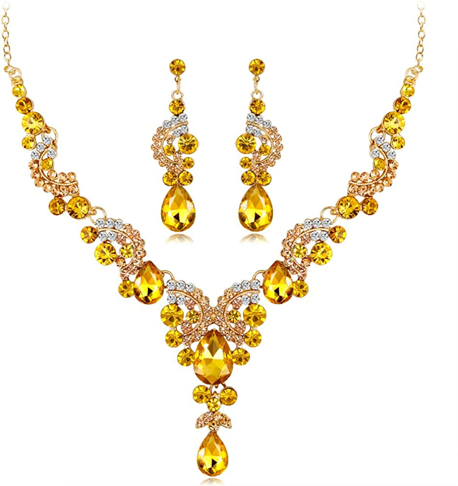 YAZILIND Wedding Bride CZ Jewelry Set Water-Drop Tear-Drop Rhinestone Pendant Necklace Drop Earrings