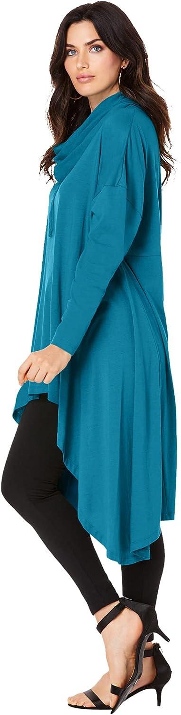 Roaman's Women's Plus Size Drawstring Cowl-Neck Ultra Femme Tunic Hoodie