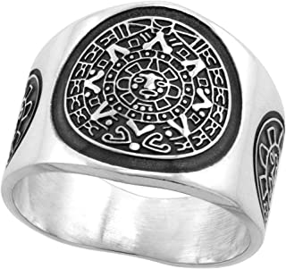 Sterling Silver Aztec Calendar Ring for Men Mayan Sun Sides 18mm Wide, Sizes 8-13