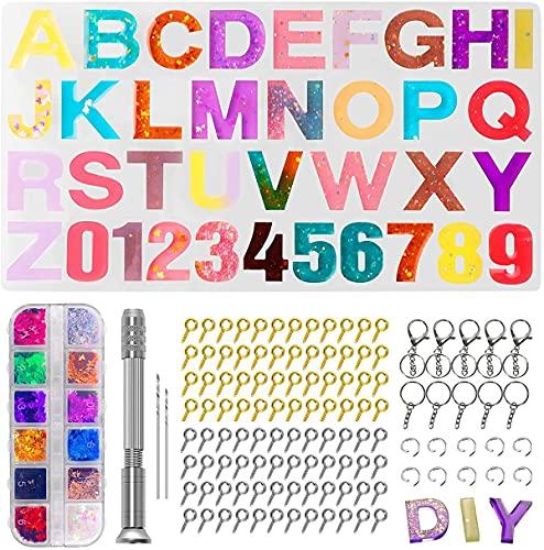 Kits de moldes de resina epoxi, moldes de silicona de alfabeto para joyas de resina epoxi, moldes de números inversos con accesorios para principiantes
