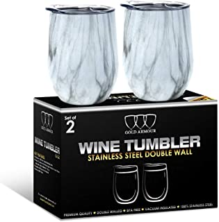 2Pack Stainless Steel Stemless Wine Glass Tumbler with Lid, 12 oz | Double Wall Vacuum Insulated Travel Tumbler Cup - Sweat Free, Unbreakable, Bpa Free (Pattern: Carrara Marble)