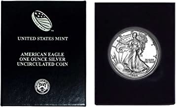 1989 - American Silver Eagle in Plastic Air Tite and Blue Gift Box with our Certificate of Authenticity Dollar Uncirculated Us Mint