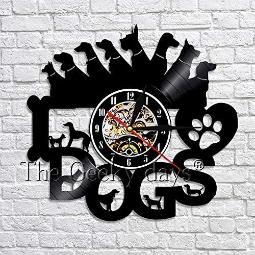 fdgdfgd Clásico Disco de CD Reloj de Pared de Perro Reloj de Pared de Disco de Vinilo de Cachorro Reloj de Pared 3D Reloj de Tiempo Animal Nuevo Hogar Arte de Pared Decoración año Nuevo