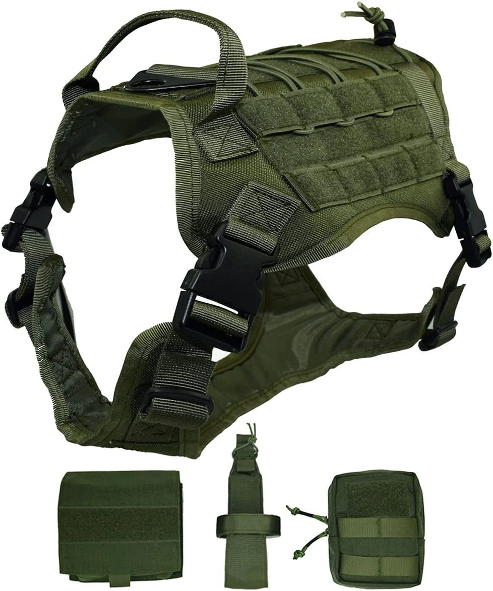 Ultrafun Tactical Dog Harness with Pouches Patches SALENEW very popular Handle Molle Max 51% OFF