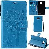 Ooboom Samsung Galaxy C7 Coque Motif Arbre Chat PU Cuir Flip Housse Étui Cover Case Wallet Portefeuille Support avec Porte-Cartes...