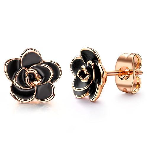 048901b7bb AllenCOCO 18K Gold Plated Black Rose Flower Stud Earrings for Women