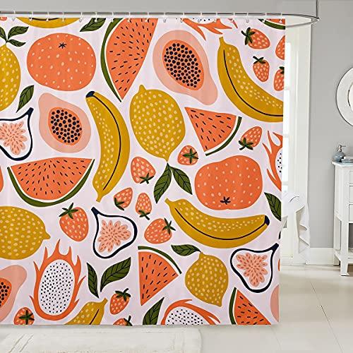Duschvorhang-Set für Kinder & Erwachsene, Motiv: Erdbeere, Wassermelone, süßes Papaya, Zitrone, Pitaya, Badvorhang, Cartoon, tropische Früchte, bunte Raumdekoration, 183 x 183 cm