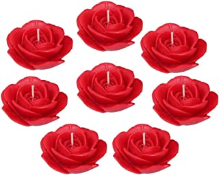 Shraddha Creation Floating Rose Decorative Designer Smokeless Candle, Red Color with Rose Fragrance (Set of 8)