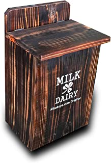 玄関のおしゃれなポストに!【ミルクボックス】MILK DAIRY焼き杉 木製牛乳箱(白文字 900ml 2本用) MS200 (焼き杉)