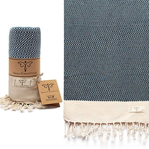 Smyrna Vintage Series Original Turkish Beach Towel | 100% Cotton, Prewashed, 37 x 71 Inches | Turkish Bath Towel for SPA, Beach, Pool, Gym and Bathroom (Navy)