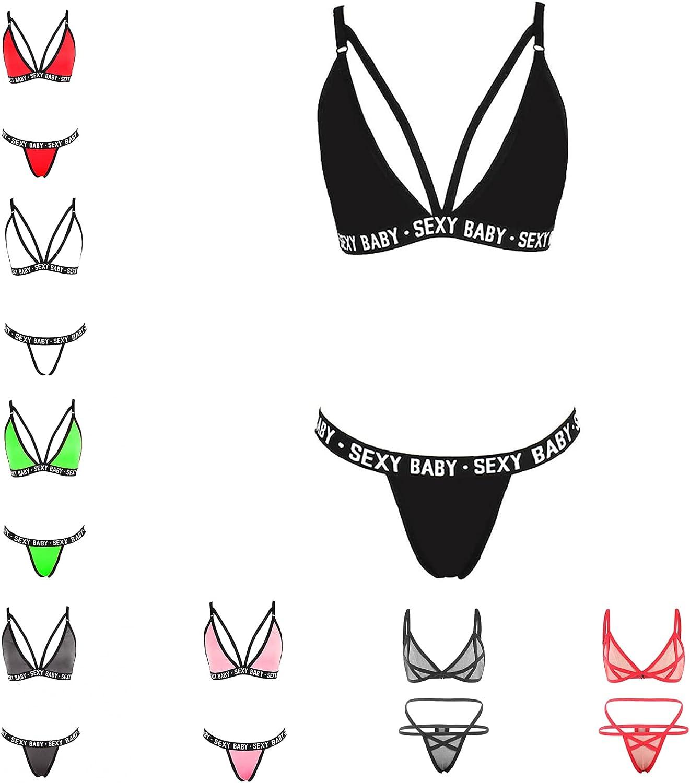 FABIURT Lingerie for Women for Sex Play,Sexy Baby Letter Babydoll Strappy Underwear Sleepwear Soft Nightwear