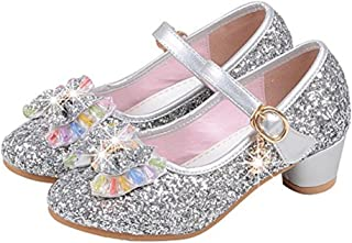 Girl's Princess Cosplay Performance Shoes Sequins Wedding Dress Shoes Low Heeled