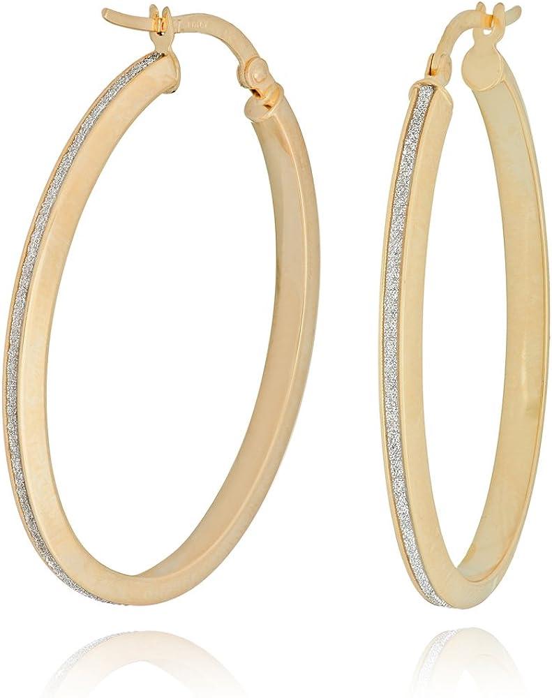 Hoop Earrings, 10Kt Gold Lightz Collection Lrg 3mm 1 Row Oval Hoop Ea