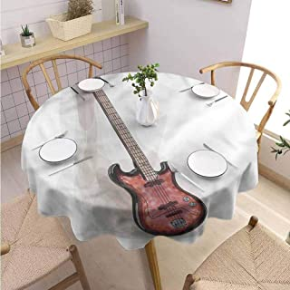 BNAREO Dinning Tabletop Decoration Round Tablecloth Bass Guitar Rock and Roll Motley Wedding Patio Dining Dorm D39