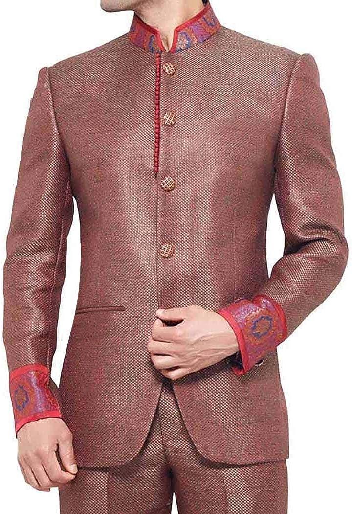 INMONARCH Mens Red Jute Nehru Jacket Bandhgala madarin Collar Jacket NJ259