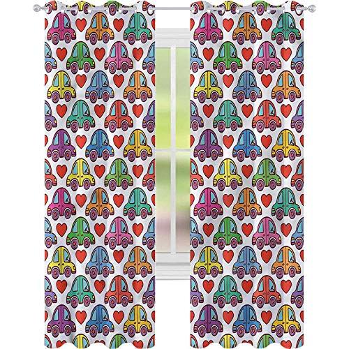 jinguizi Cortinas opacas con diseño de coches con texto en inglés 'Love Themed', 52 x L63, para oscurecer la habitación, decoración del hogar para habitación de los niños