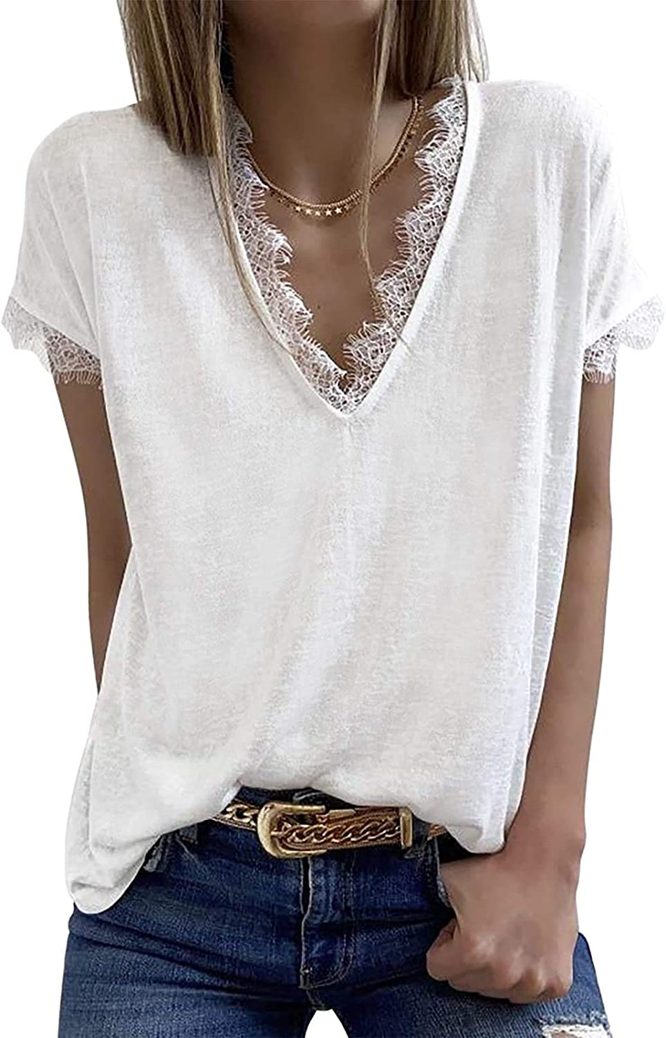 Womens V Neck Lace Tank Tops Summer Short Sleeve Tunic Loose Casual T Shirts
