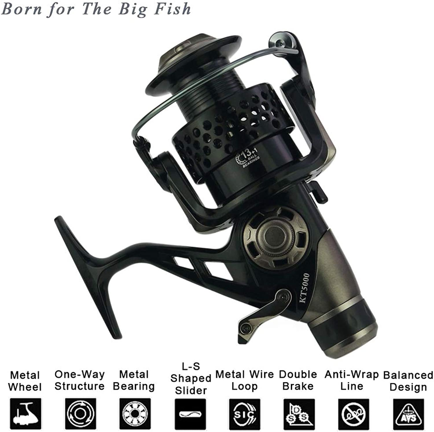 Carp Fishing Reels with Front and Rear Double Drag Brake System Reel 13+1 BB Left Right Interchangeable for Saltwater Freshwater Fishing, Born for The Big Fish, All Metal CNC Rocker, Light