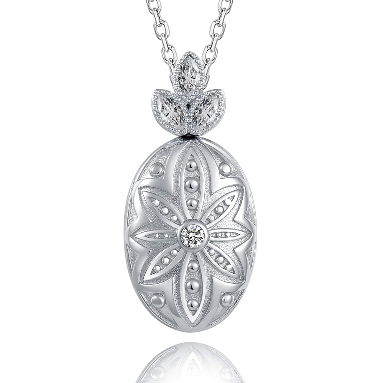 ACJNA 925 Sterling Silver Flower Oval Locket Pendant Necklace for Women