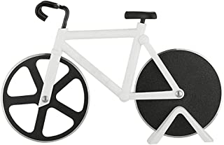 (White) - Pizza Cutter - Bicycle Pizza Cutter Wheel Pizza Slicer Sharp Dual Stainless Steel Bike Wheels with a Display Stand by Yuxing (White)