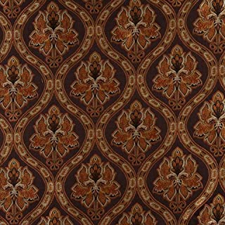 Designer Fabrics K0016B 54 in. Wide Brown44; Gold44; Persimmon And Ivory Embroidered44; Traditional Brocade44; Upholstery ...