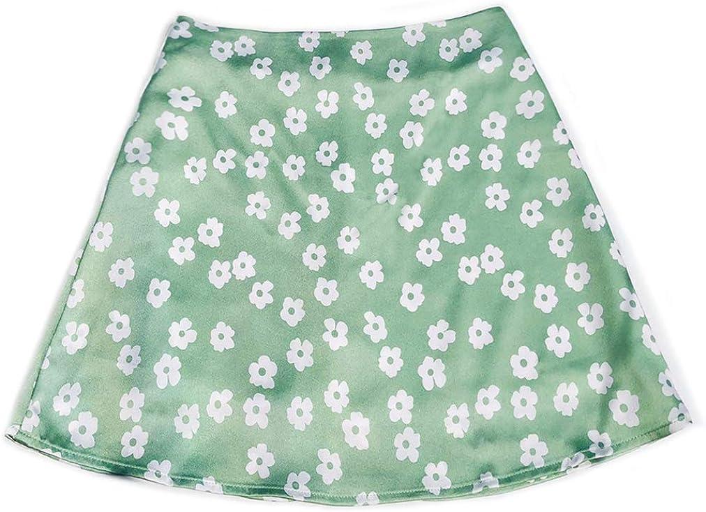 HUPAI Women's Summer Short Dress High Waist Skirt Satin Printing Short Skirt Casual Dress Pink Floret Half-Length Skirt