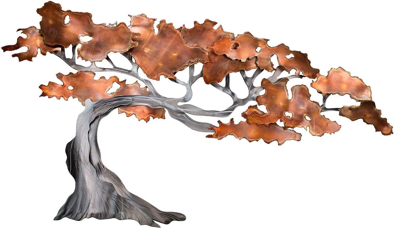 Extravagante KunstLoft Metall Wandskulptur 'Rejuvenated' 61x110x6cm  Design Wanddeko XXL handgefertigt  Luxus Metallbild Wandrelief  Silber Braun Baum Herbst  Wandbild modern