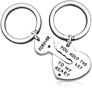 2pcs Couple Key Chain Ring Set - You hold the key to my heart & Forever - Love Heart Key Locks Lover Gift