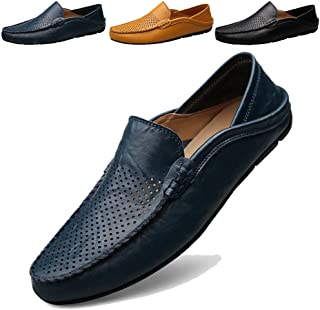 Mens Loafers Moccasin Driving Shoes Premium Genuine Leather Casual Slip On Flats Fashion Slipper Breathable Big Size