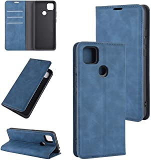 保護ケース ホルダー&カードスロット&財布と小米科技Redmi 9C Retroskinビジネス磁気吸引レザーケース用 Xiaomi ケース (色 : Dark Blue)