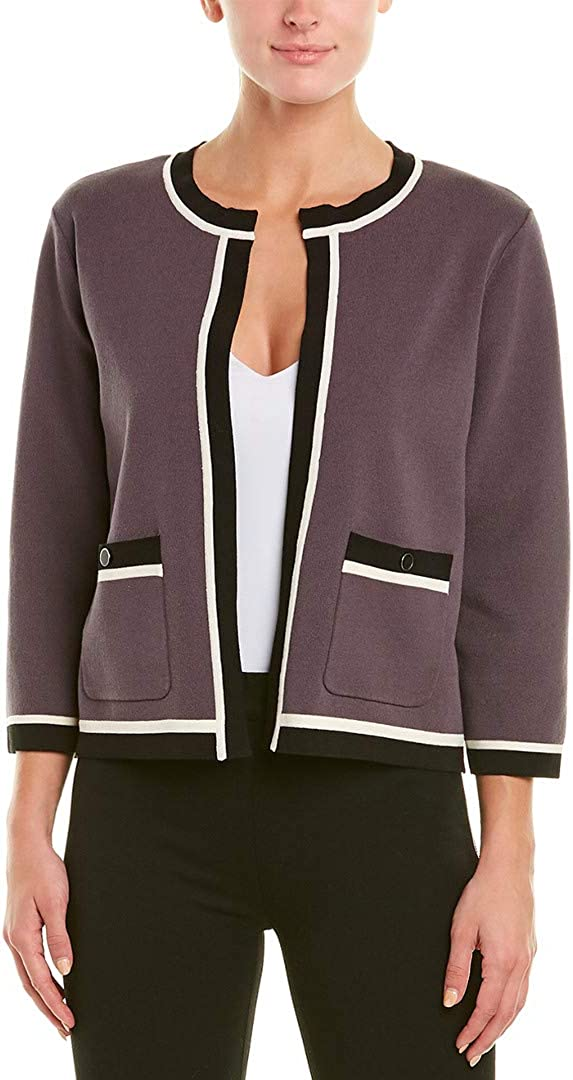 Anne Klein Women's Tipped Cropped Cardigan