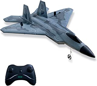 HAWK'S WORK 2 CH RC Airplane, F-22 RC Plane Ready to Fly, 2.4GHz Remote Control Airplane, Easy to Fly RC Glider for Kids &...