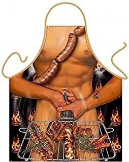 STLY 1 Piece Funny BBQ Aprons Sexy Rude Barbecue Cooking Kitchen Baking Crafting Gardening Apron (BBQ Ham)