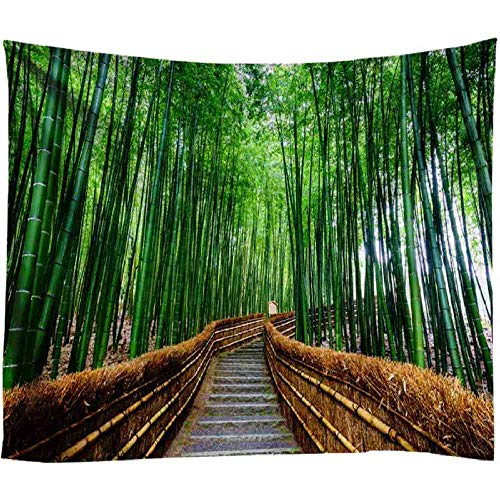 AdoDecor Tapiz de Bosque de bambú con Estampado de árbol de la Naturaleza, Tapiz de Mandala Indio, tapices para Colgar en la Pared, Manta de Pared Boho, 150x100cm