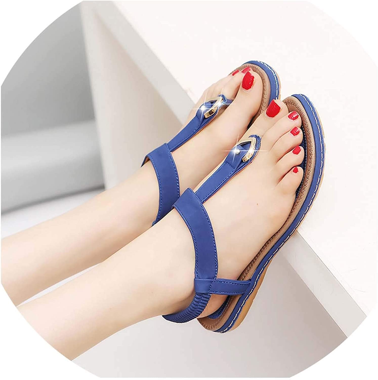 HuangKang Summer Bohemia Comfortable Ladies shoes Beach Gladiator Sandal Women Female Flat Sandals Fashion shoes