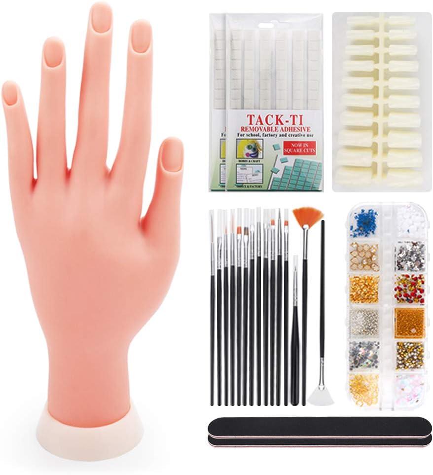 Deciniee Mano de Practicas de Uñas,200 Piezas de Uñas Acrilicas Silicona Manos Articulada Practicas Uñas Postizas Dedo de Practica Falsas Mano para Uñas Manicura Profesional