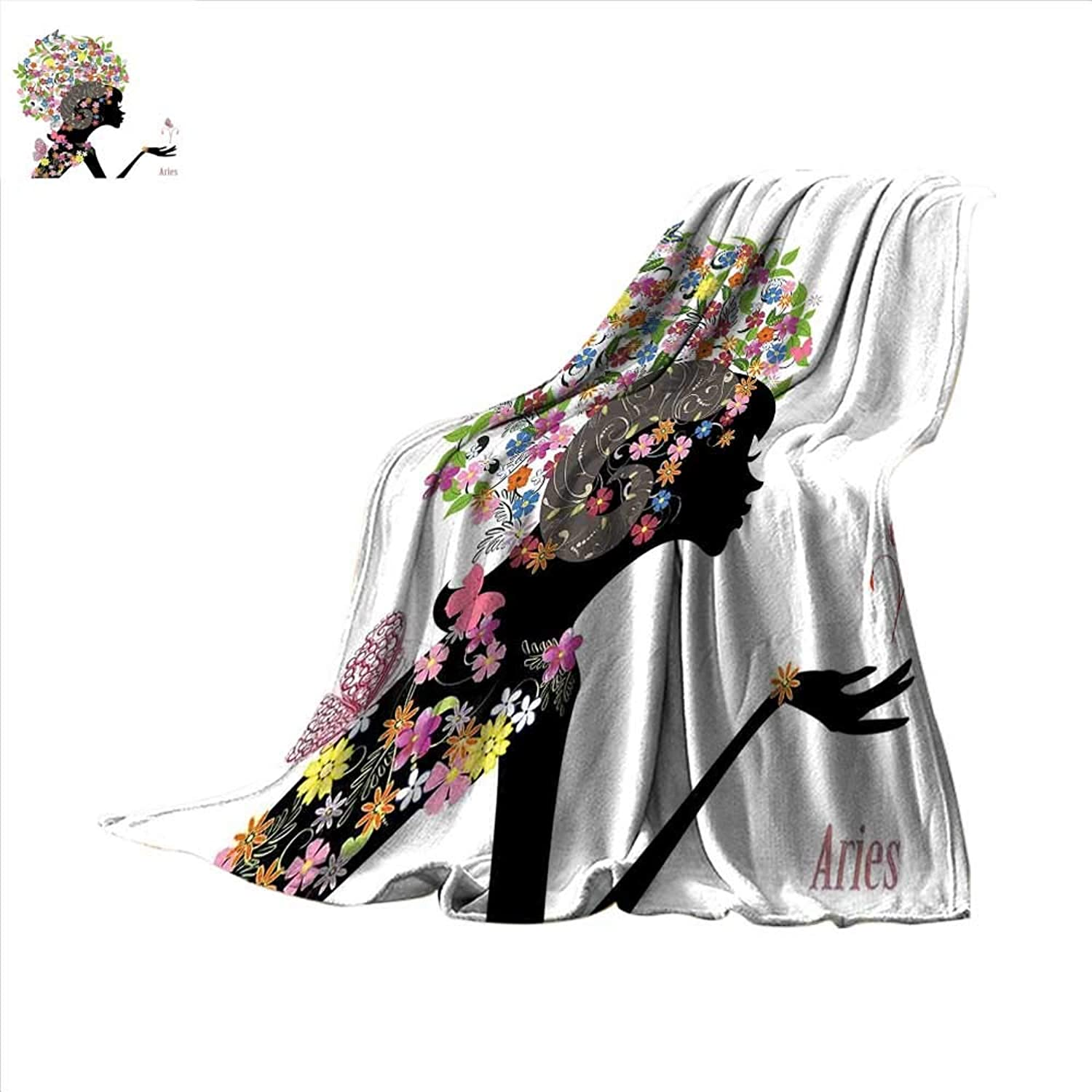 Smallbeefly Zodiac Aries Super Soft Lightweight Blanket Fashion Girl Aries Woman with Horns Floral Dress Lively Blossoms Butterflies Oversized Travel Throw Cover Blanket 60 x50  Multicolor