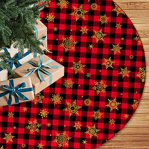 48 inch Red and Black Buffalo Plaid Christmas Tree Skirt with Snowflake Rustic Xmas Tree Skirt for Merry Christmas Xmas Holiday Party Decorations