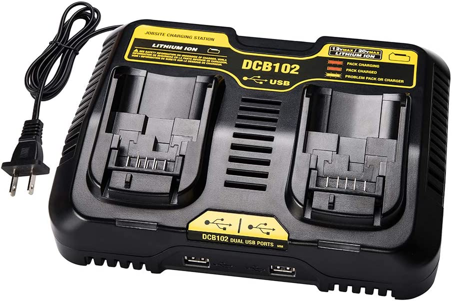 DCB102BP for dewalt Battery Charger Dual 3A LENMAX Large-scale sale Popular shop is the lowest price challenge USB DCB102