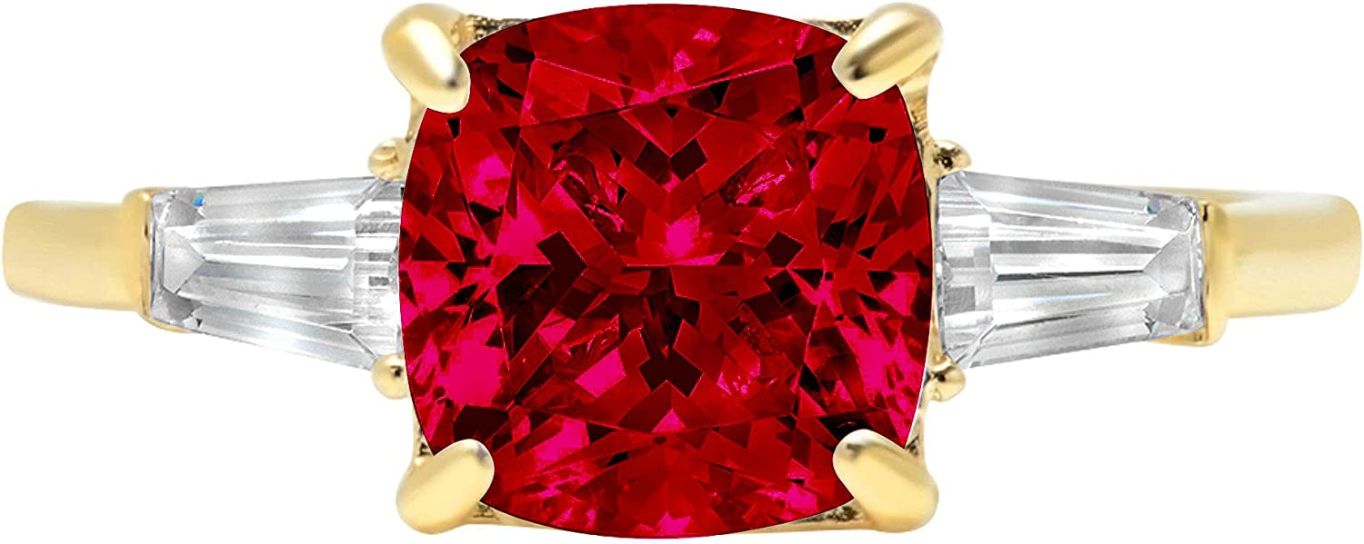 Clara Pucci 3.6 Cushion Baguette Max 86% OFF cut St Ranking TOP20 Solitaire Accent stone 3