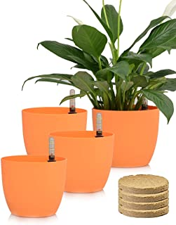 Sarosora 6'' Self Watering Planter Pots with Coco Soil for Home Garden Outdoor Indoor Office Modern Decorative Flower Pots for All House Plants Flowers Herbs Succulents (Orange)