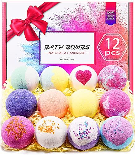 Bath Bombs, 12 Pcs Bubble Spa Bath Bomb Kit, Handmade Bath Bomb Gift Perfect for Moisturizing Skin,...